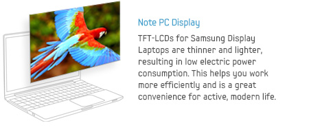 Note PC Display - TFT-LCDs for Samsung Display Laptops are thinner and lighter, resulting in low electric power consumption. This helps you work more efficiently and is a great convenience for active, modern life.